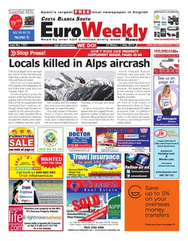 Euro Weekly News Costa Blanca South 26 March 1 April 2015 Issue 1551 By Euro Weekly News Media S A Issuu