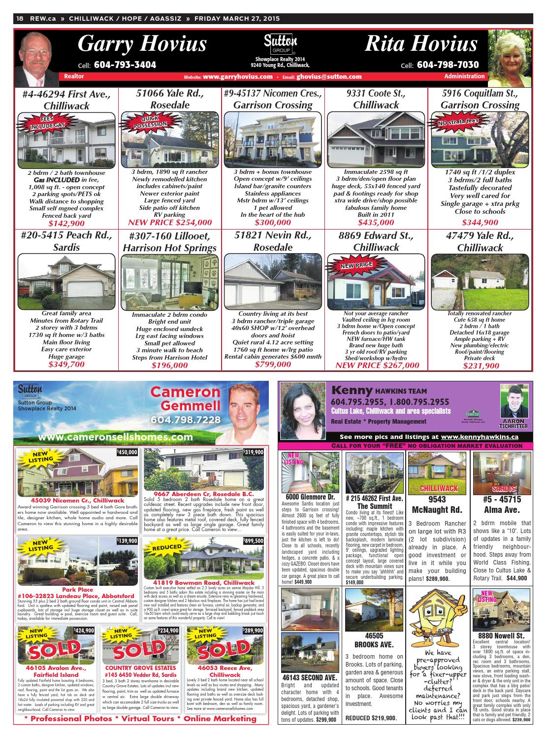 CHILLIWACK / HOPE / AGASSIZ Mar 27, 2015 Real Estate Weekly by Real