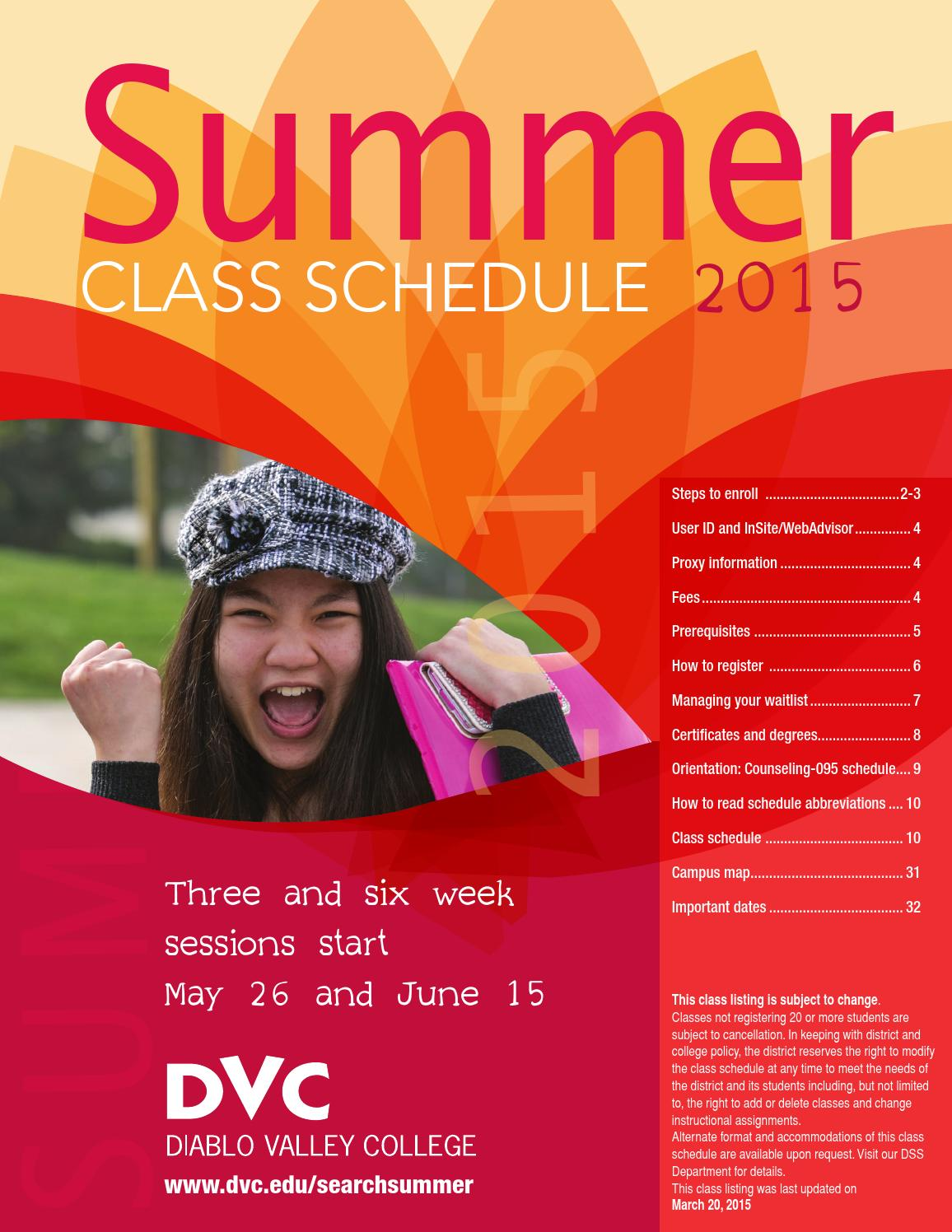 Dvc Summer 2020 Classes.Dvc Summer 2015 Class Schedule By Diablo Valley College Issuu