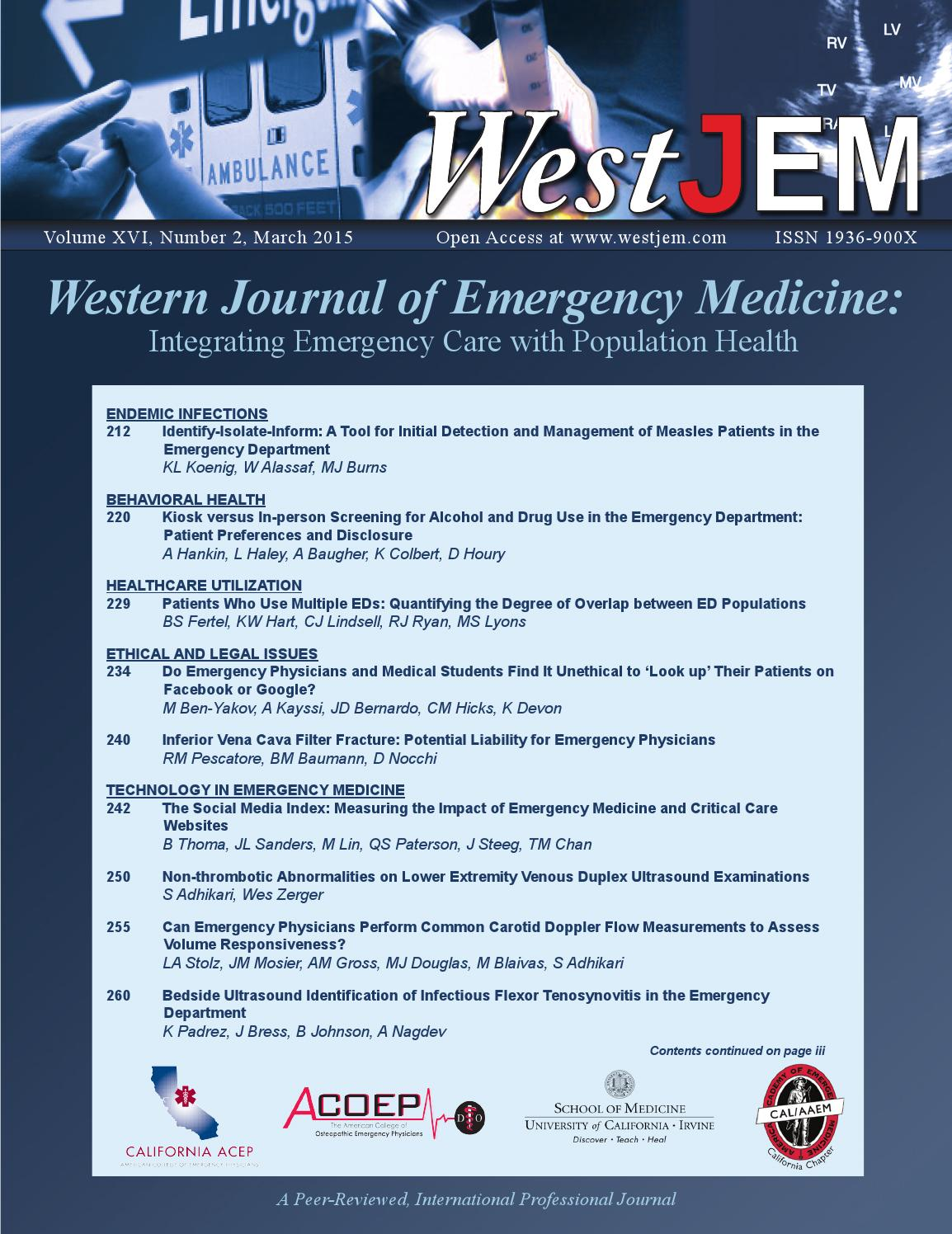 Volume 16 Issue 2 by Western Journal of Emergency Medicine
