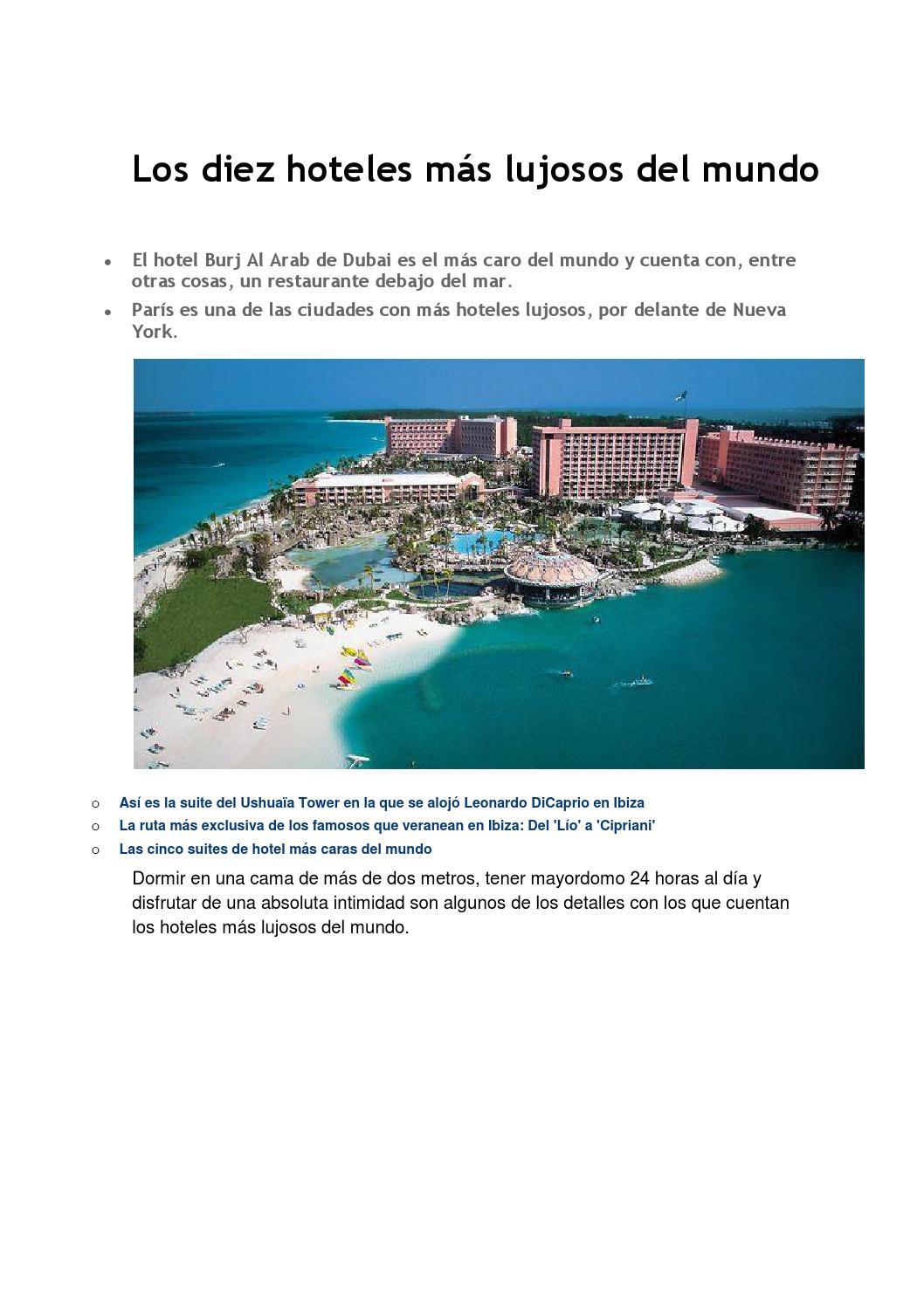 Los diez hoteles m s lujosos del mundo by sarayclara issuu for Hoteles mas lujosos del mundo bajo el mar