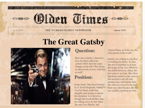 The great gatsby book report essay