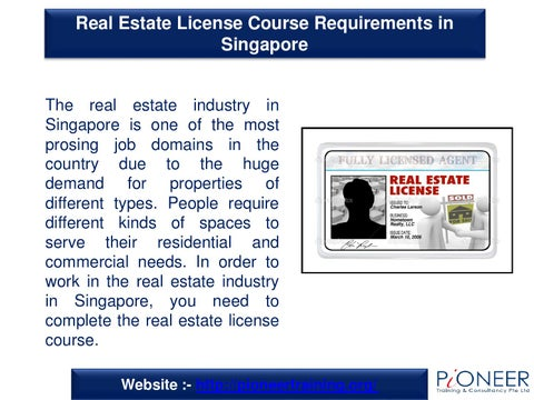 Real Estate License Course Requirements In Singapore By Jonas Smith