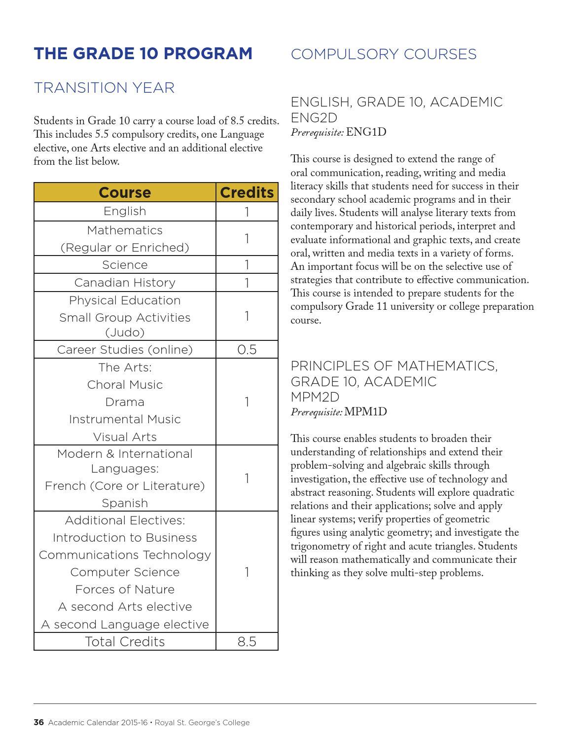 2015/16 Academic Calendar by Royal St  George's College - issuu