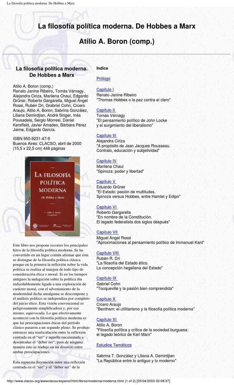Boron Atilio Comp La Filosofía Política Moderna De Hobbes A