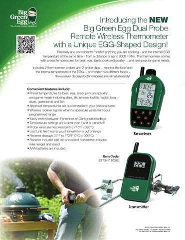 Big Green Egg Dual Probe Remote Wireless Thermometer By Big Green