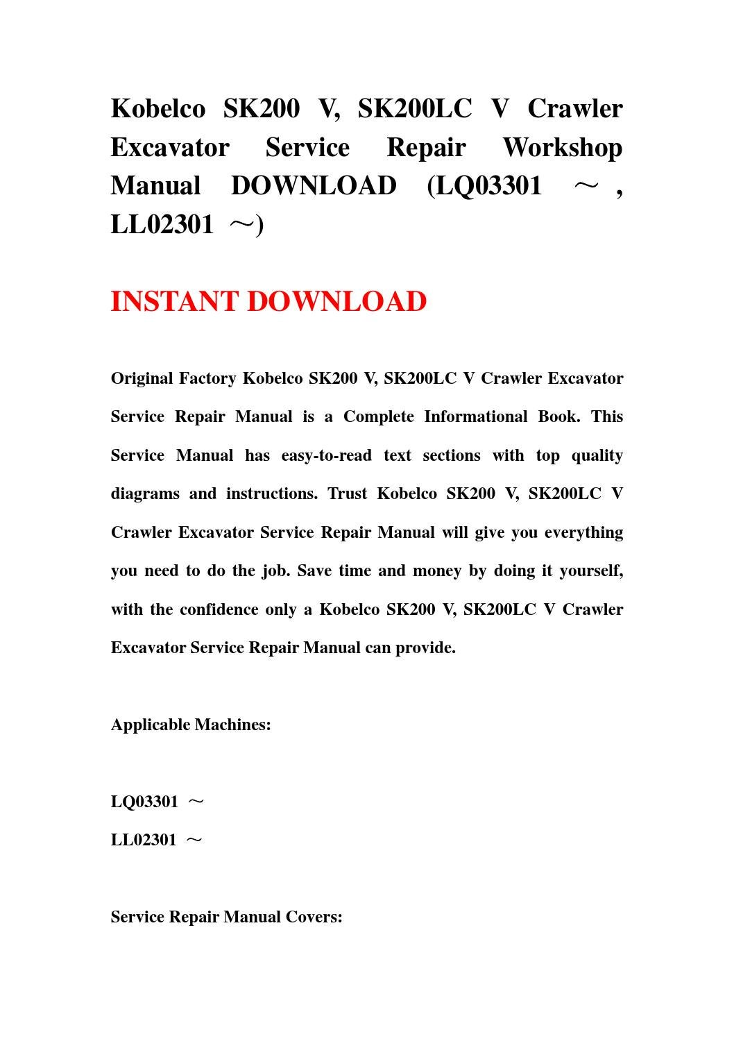 Kobelco Sk200 V  Sk200lc V Crawler Excavator Service Repair Workshop Manual Download  Lq03301