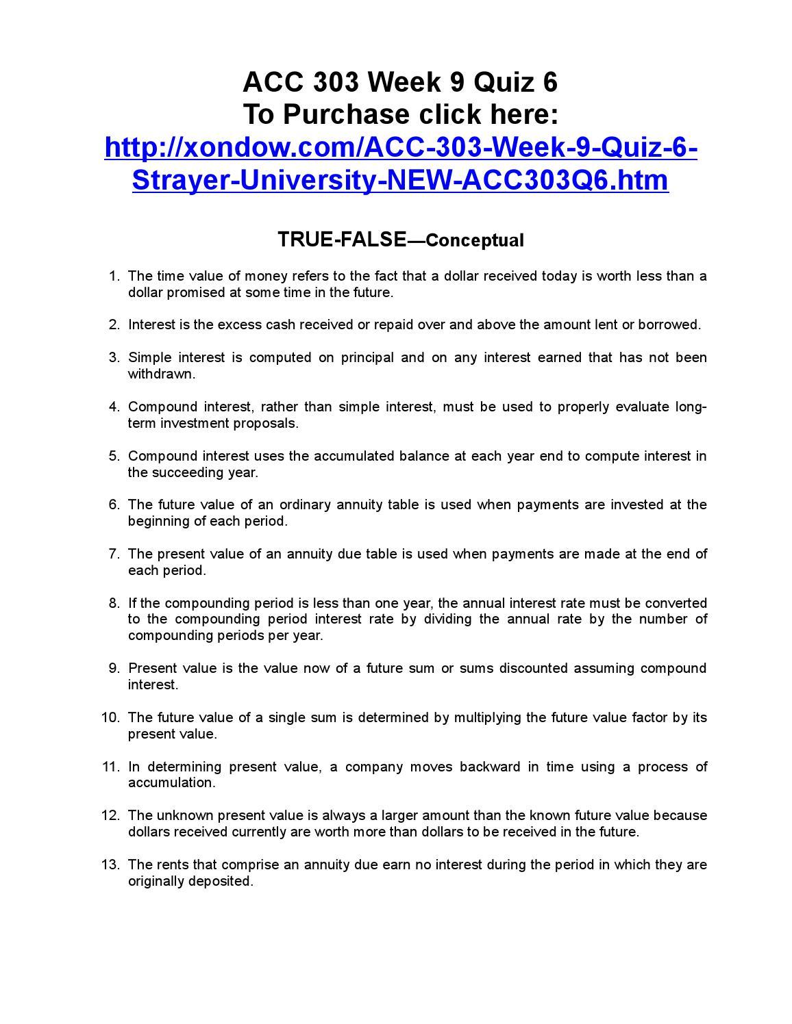 acc/560 Quiz – Strayer