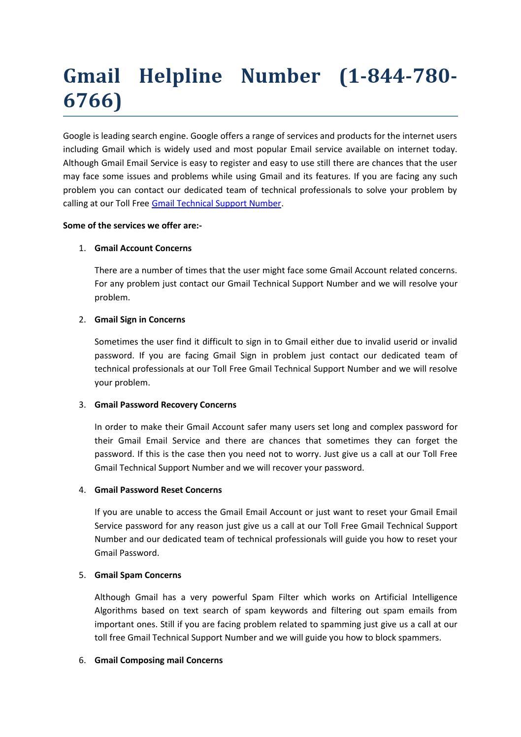 Gmail helpline number 1-844-780-6766 by Anna Doris - issuu