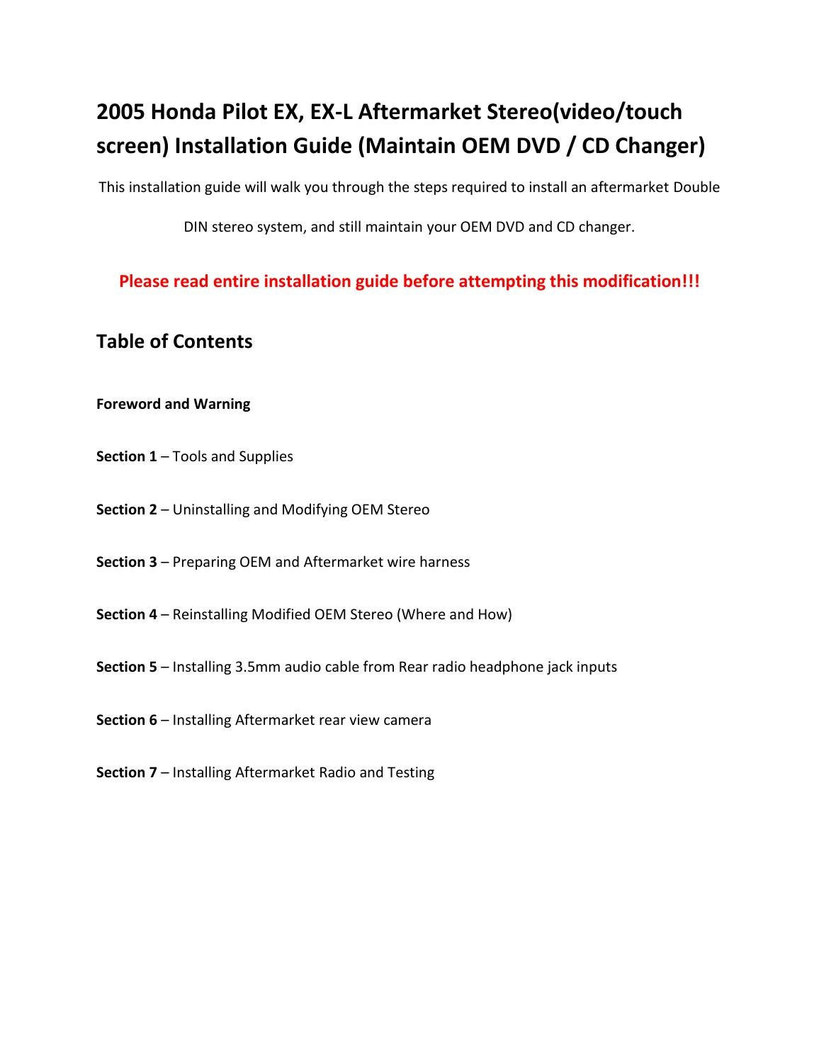 2005 Honda Pilot Ex L Aftermarket Radio Installation By Daniel 2006 Electrical Troubleshooting Manual Original Leonard Issuu