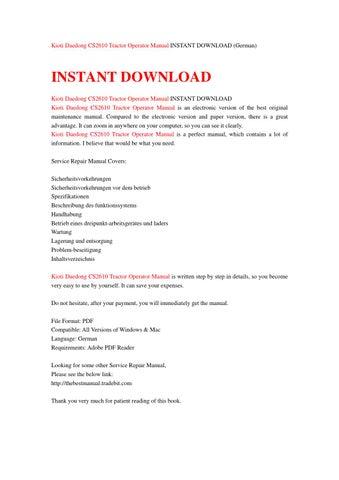 kioti daedong cs2610 tractor operator manual instant download german