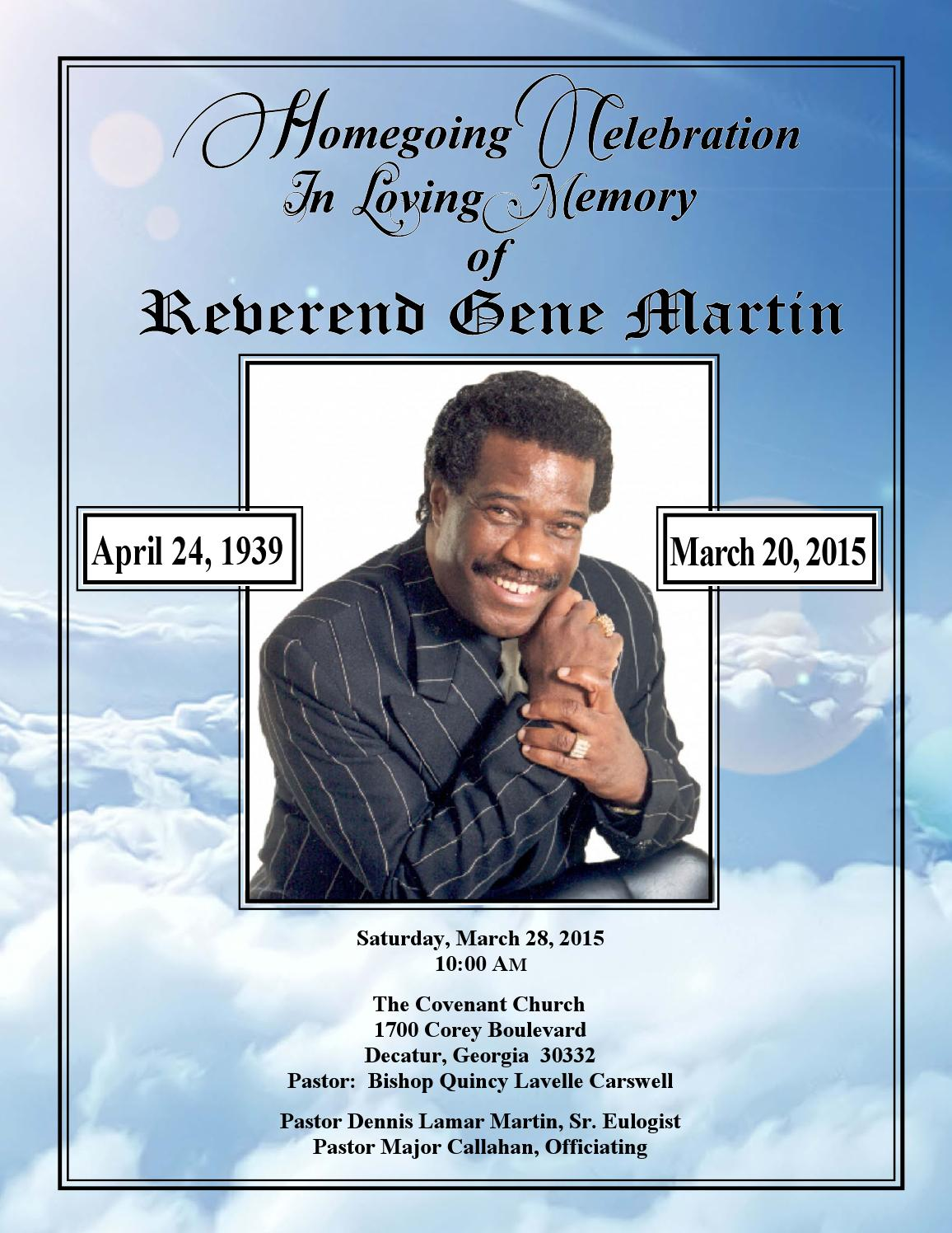Rev Gene Martin Homegoing Celebration Program by Dennis ...