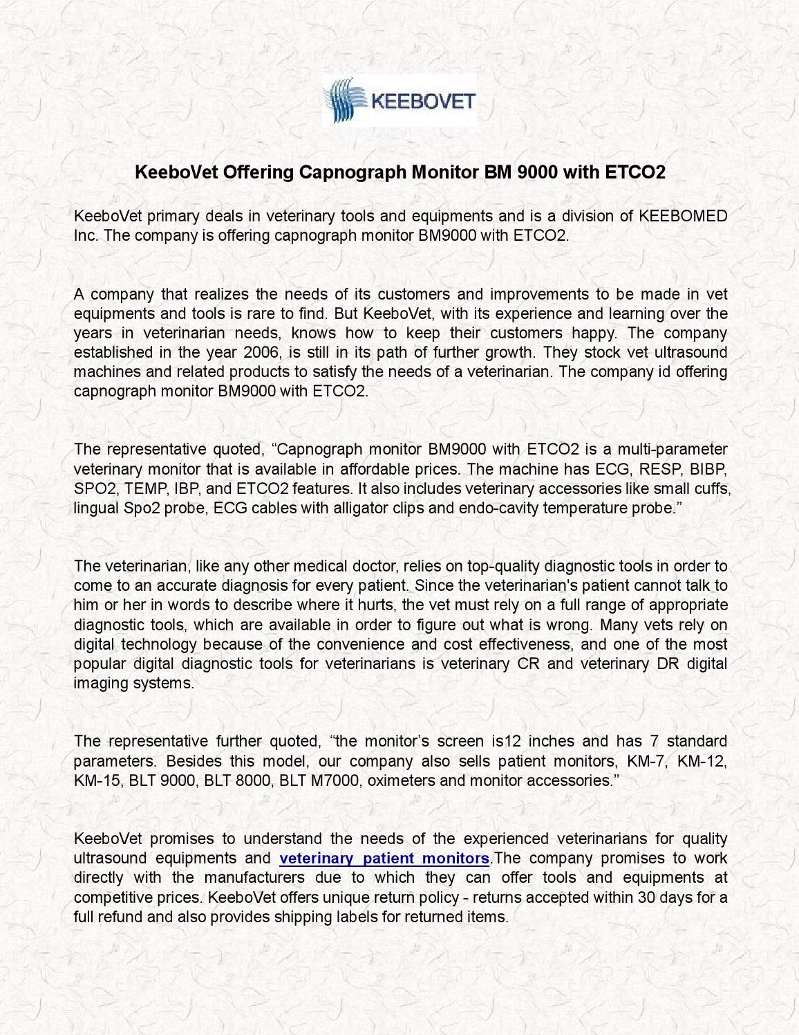 Keebovet offering capnograph monitor bm 9000 with etco2 by