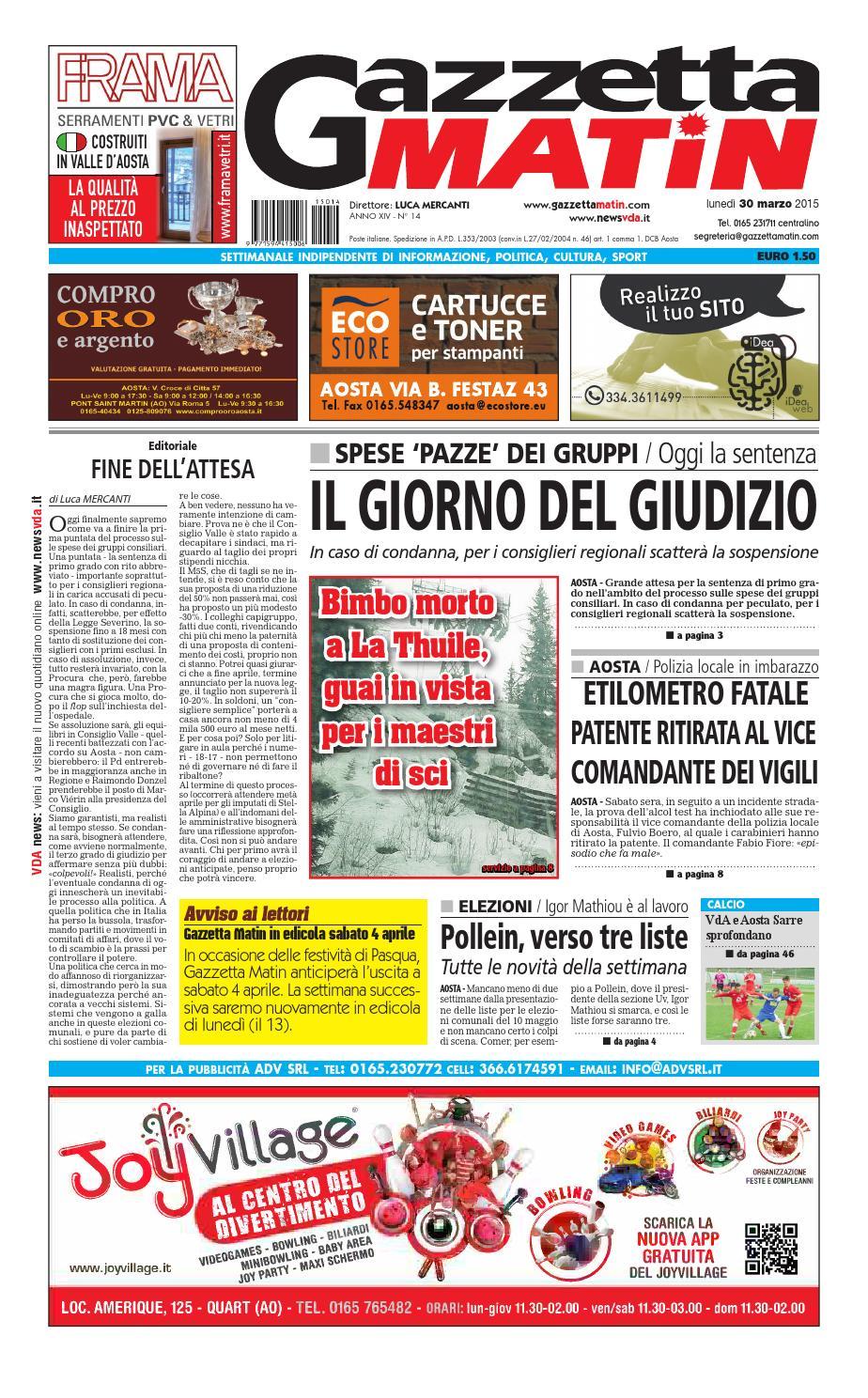 Gazzetta Matin del 30 marzo 2015 by NewsVDA - issuu