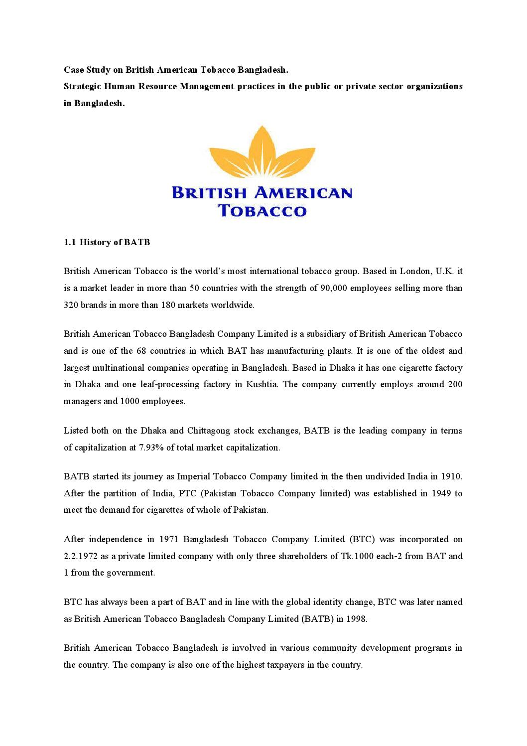 Case Study On British American Tobacco Bangladesh By Md
