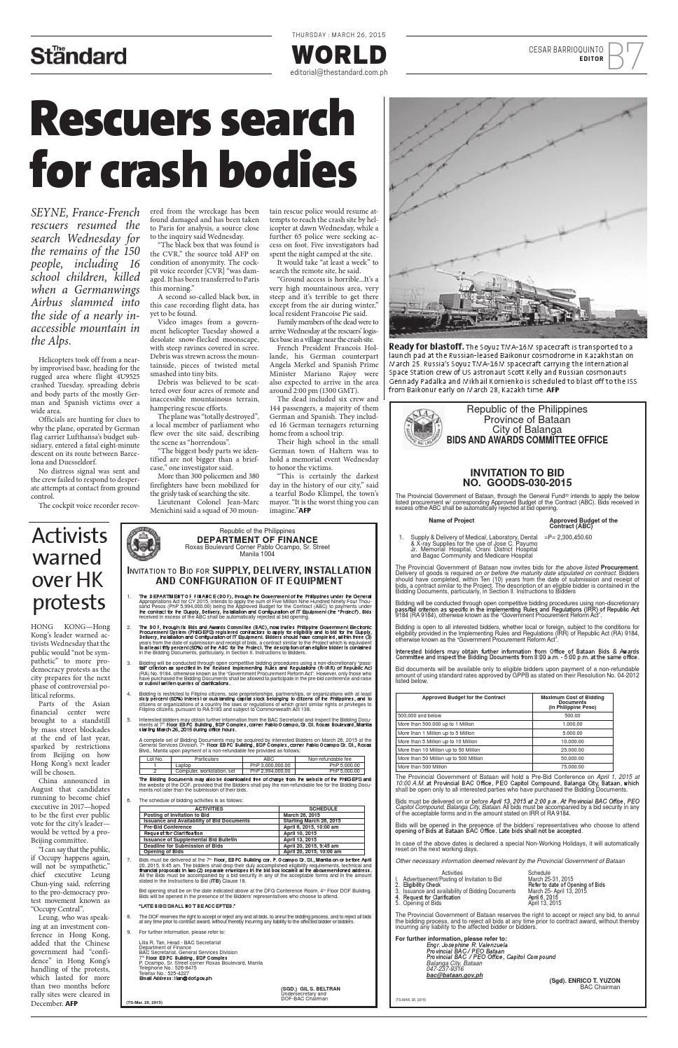 The Standard - 2015 March 26 - Thursday by Manila Standard