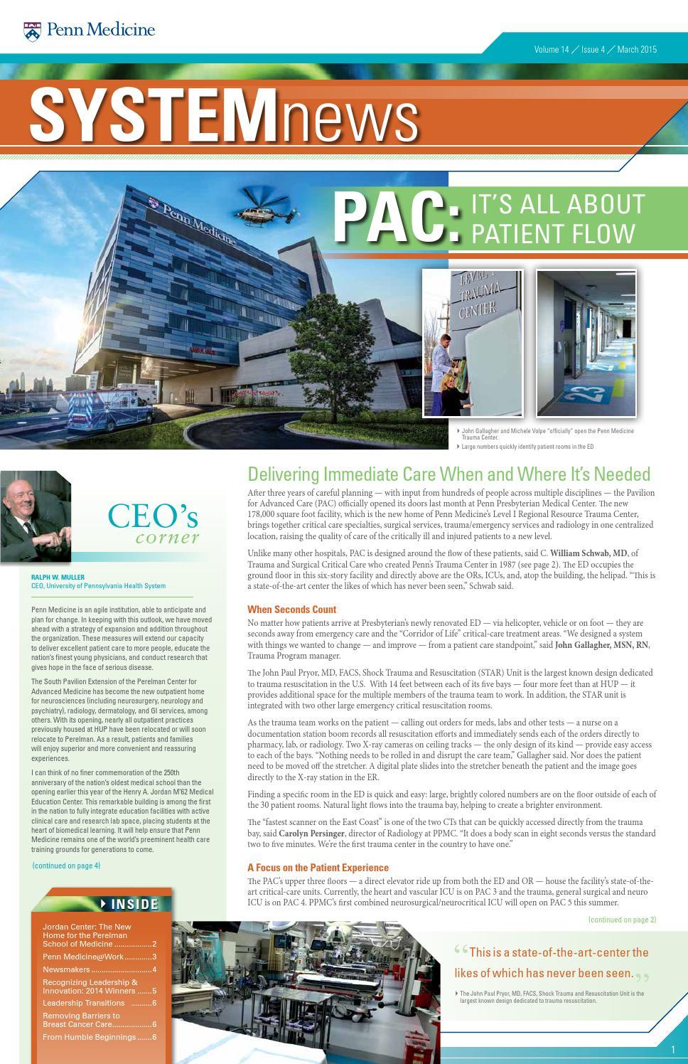 Digital Edition of System News — March 2015 by Penn Medicine