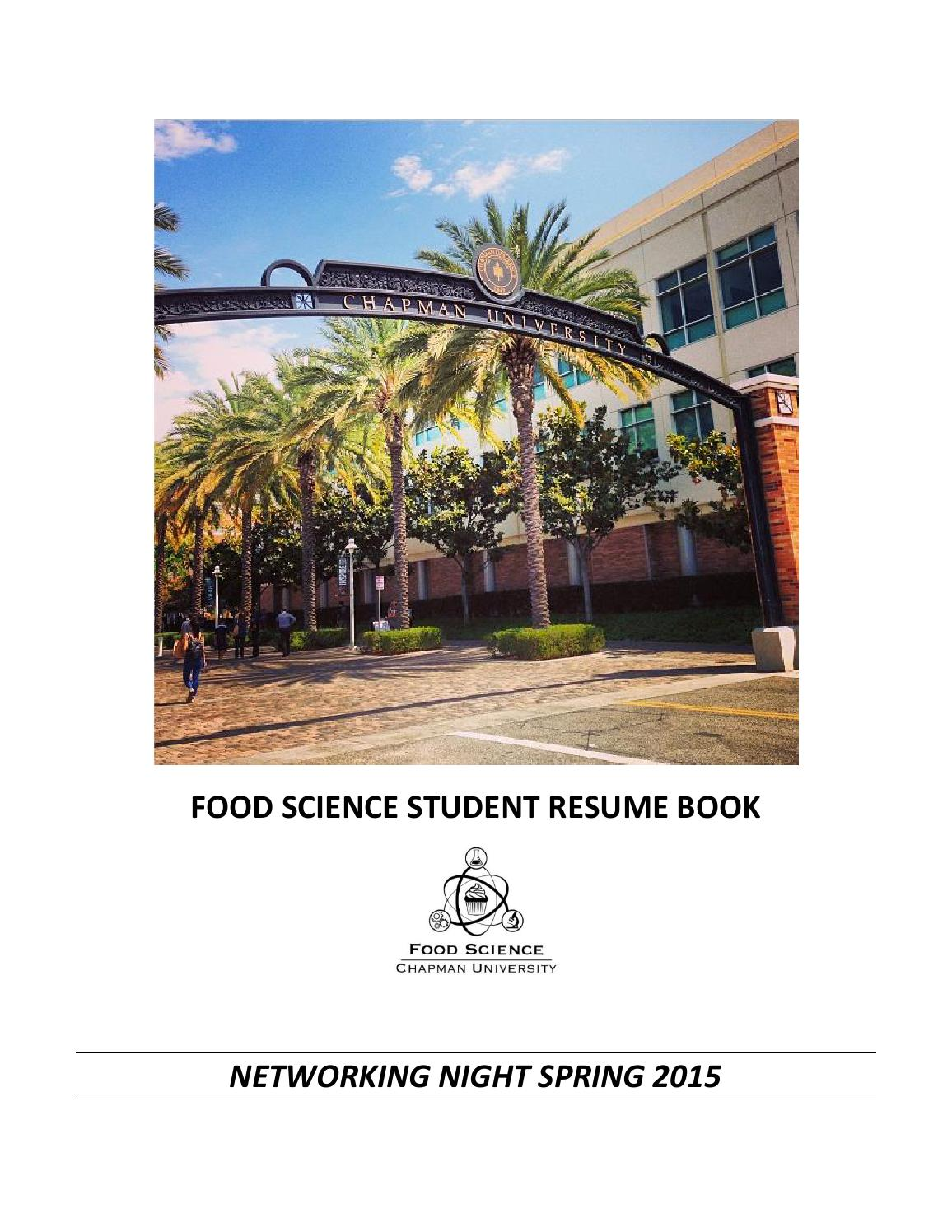 food science resume book network night 2015 by sonja montiel issuu - Resume Food Science Student