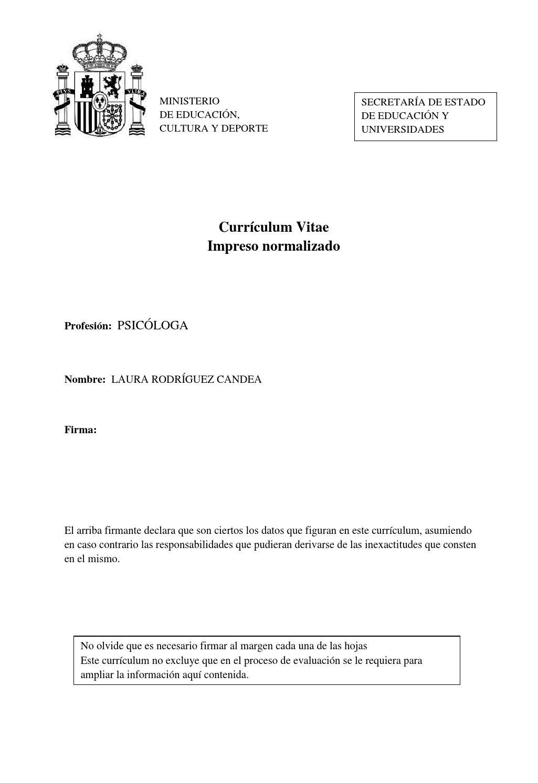 Cv de Laura Rodríguez by ONG No Más Paro - issuu