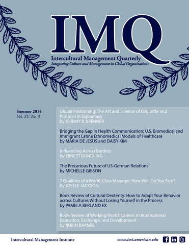 Summer 2014 Intercultural Management Quarterly By Intercultural