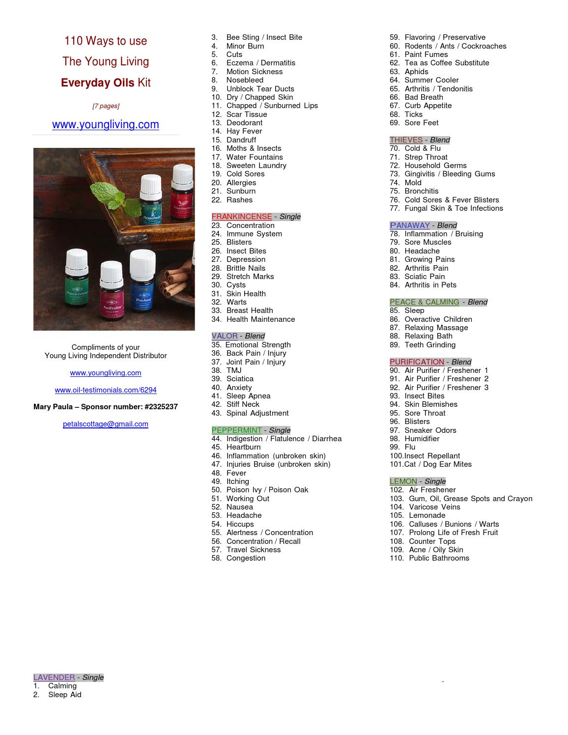 110 ways to use young living everday oils kit #2325237 by Young