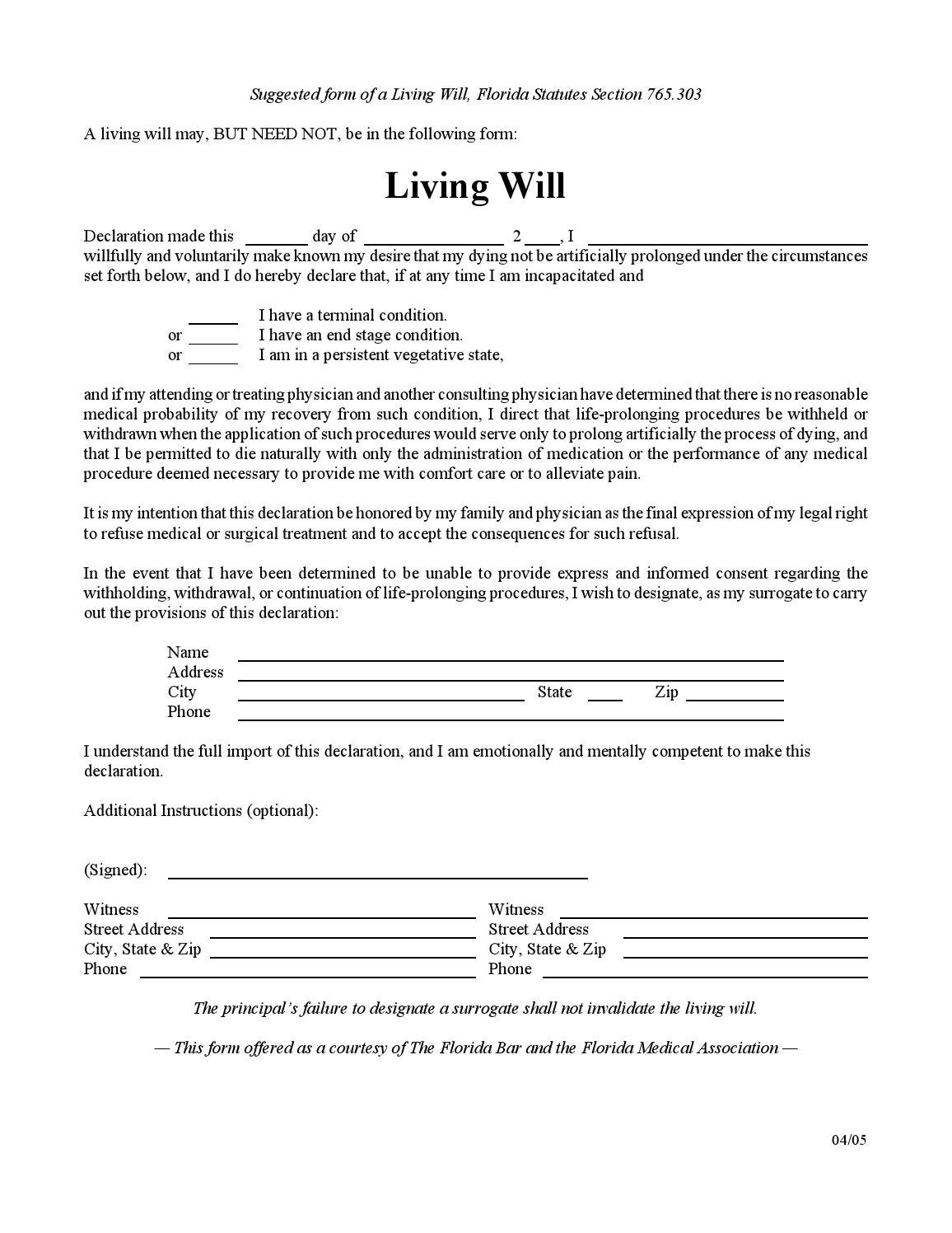 Florida living will by wfla newschannel8 issuu for Templates for wills free