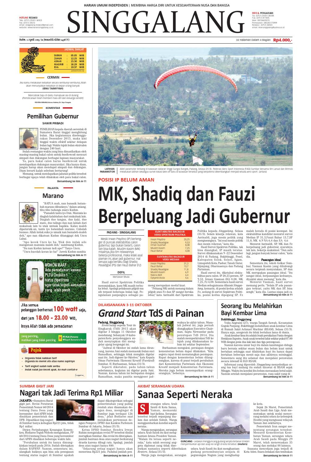 Rabu, 1 april 2015 by Harian Singgalang - issuu