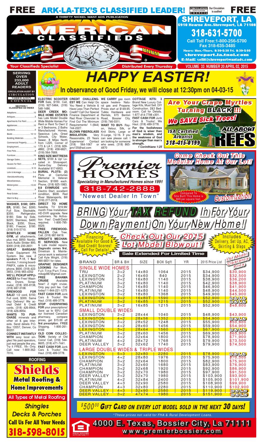 American Classifieds Shreveport La April 2nd 2015 By 2000 Sportage Fuse Box Indoor Issuu