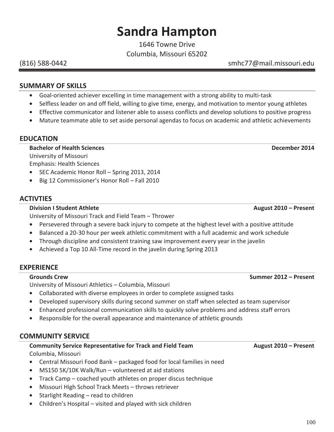 20142015 mizzou athletics senior resume bookadam kiel