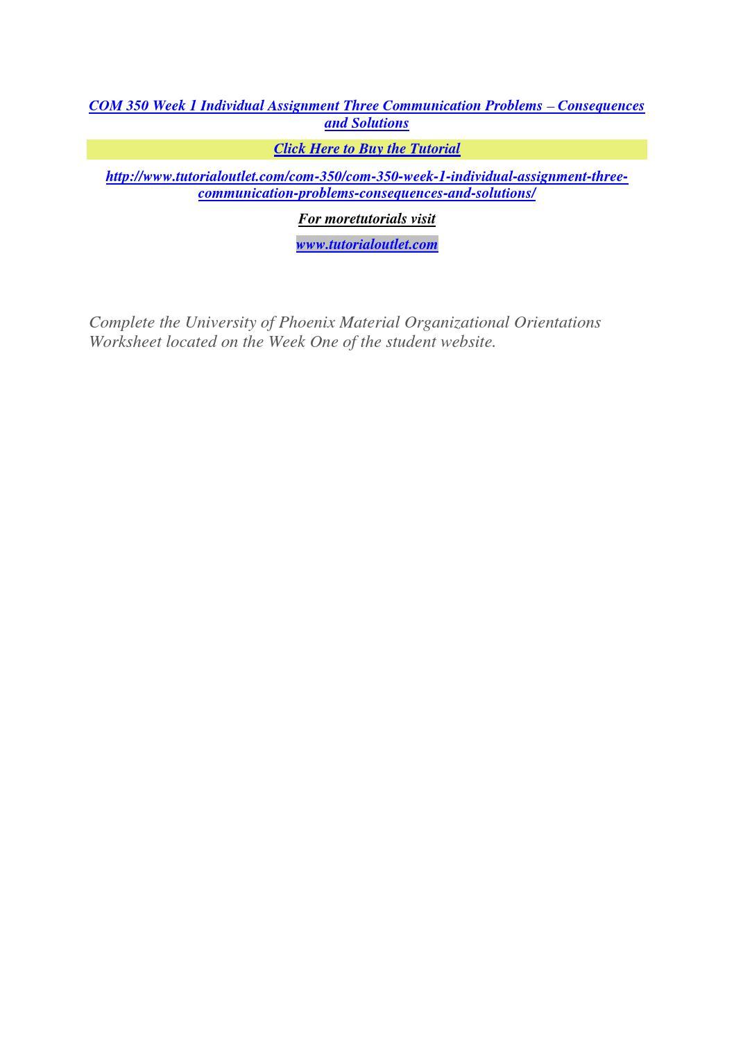 Com 350 week 1 individual assignment three communication