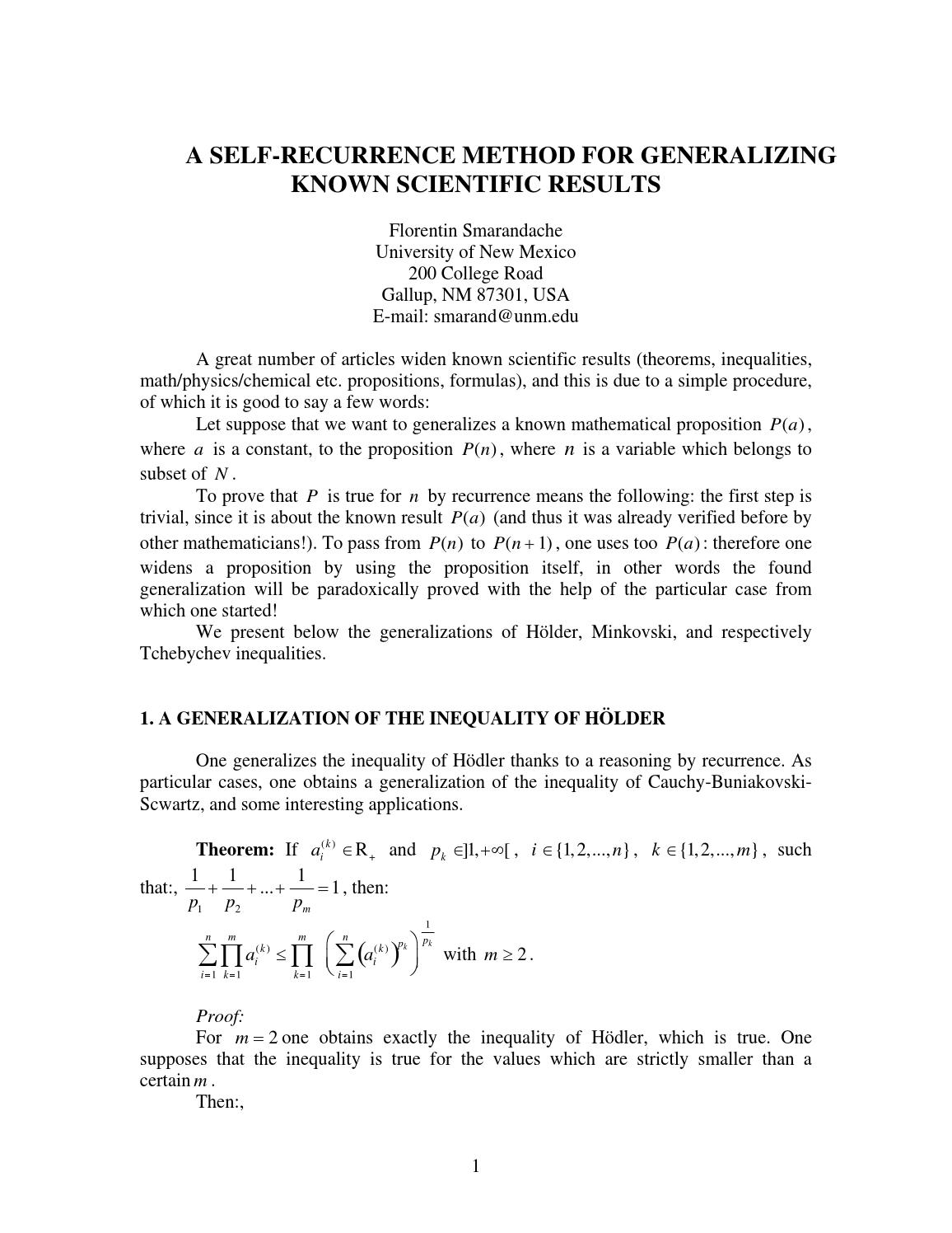 A SELF-RECURRENCE METHOD FOR GENERALIZING KNOWN SCIENTIFIC