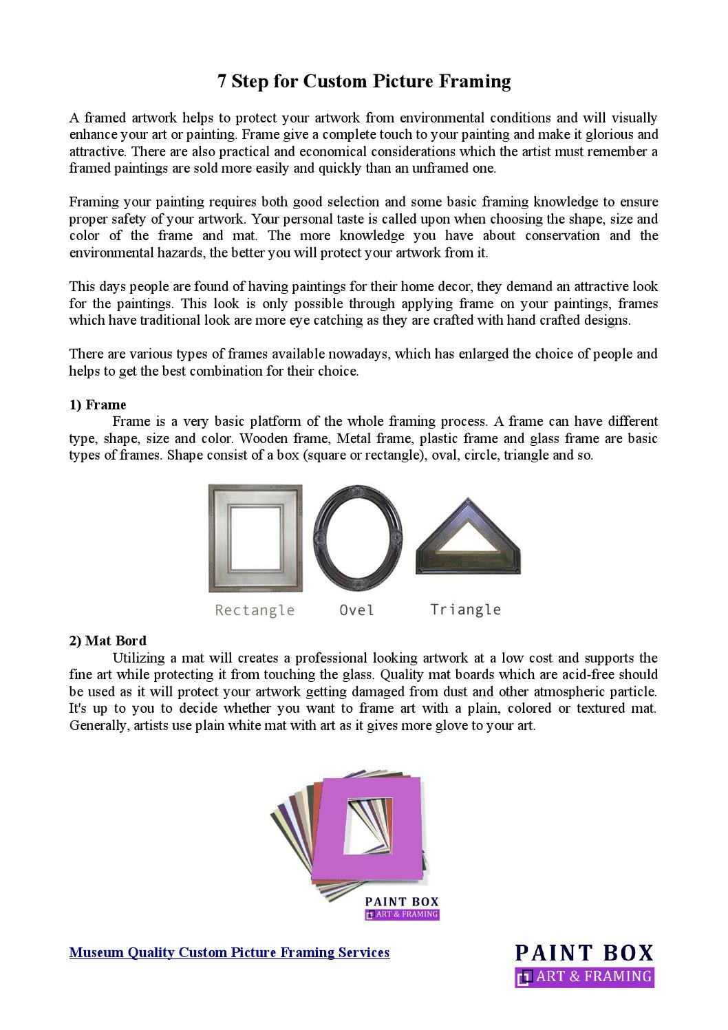 7 step for custom picture framing by PaintboxArtandFraming - issuu