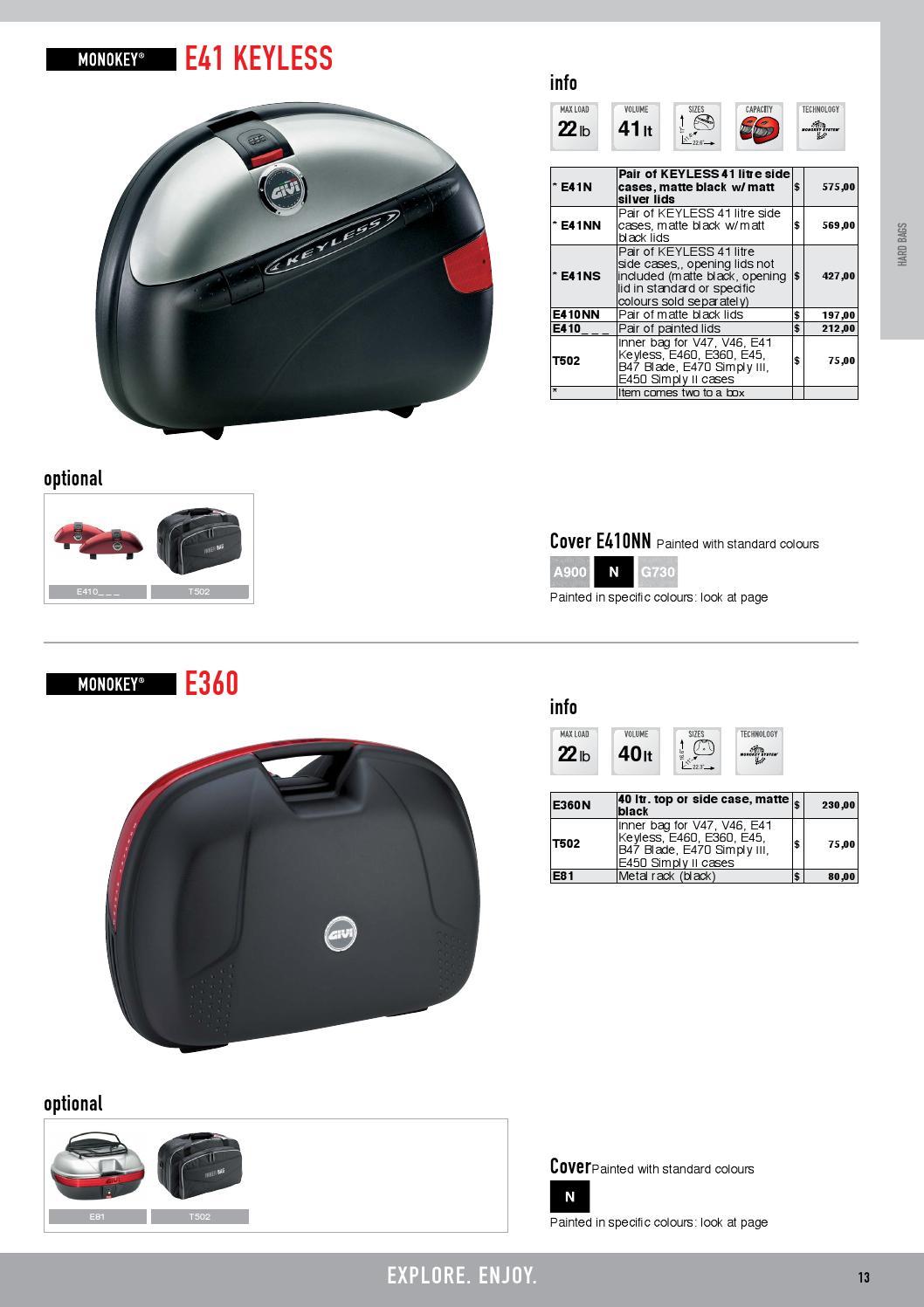 B47 Blade E360 E470 Simply III E450 Simply II cases V46 GIVI E460 E41 Keyless Inner bag for V47 E45