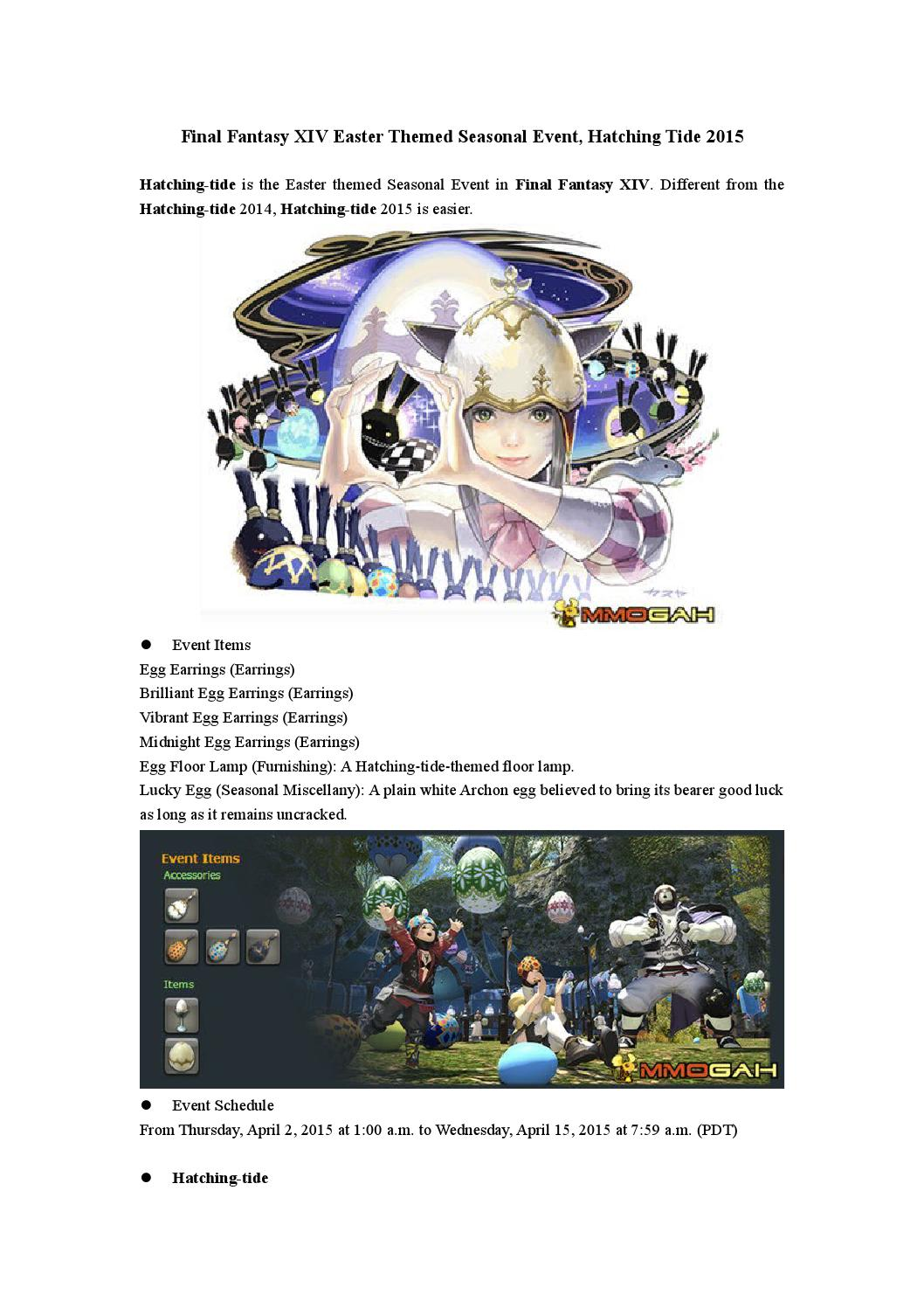 Final Fantasy Xiv Easter Themed Seasonal Event Hatching