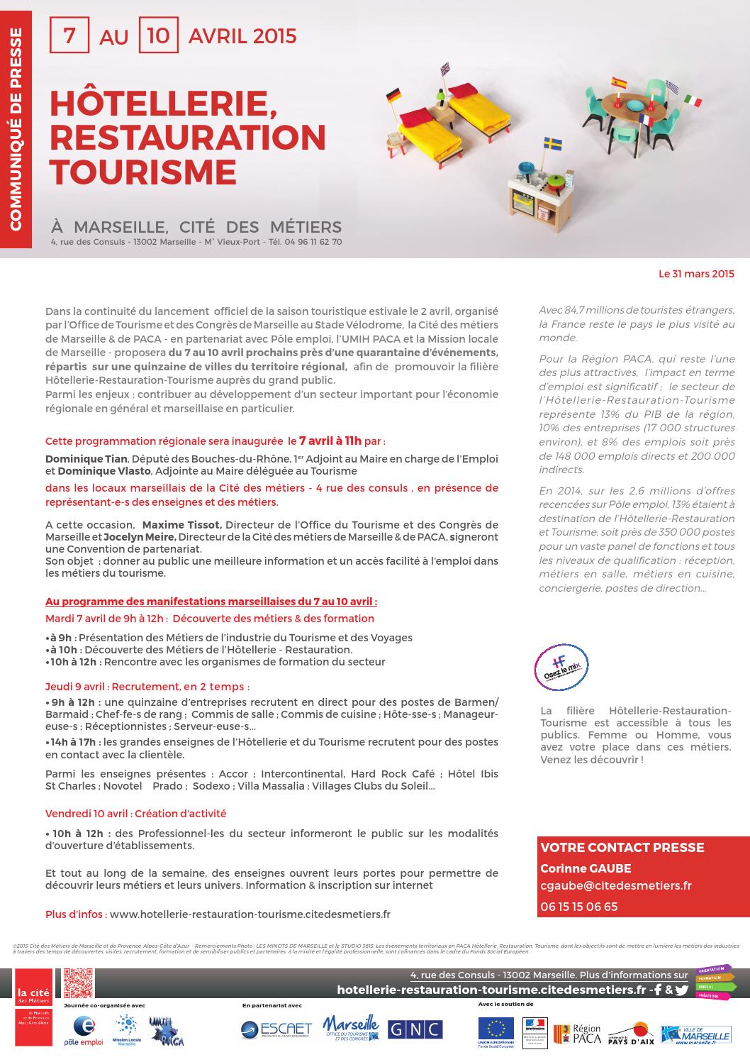 H tellerie restauration tourisme by cit des m tiers de marseille et de paca issuu - Mission locale vieux port ...