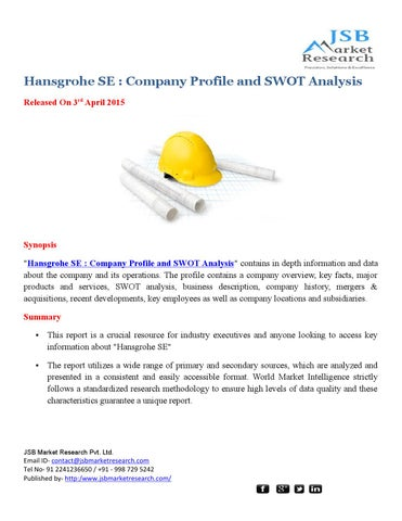 JSB Market Research: Hansgrohe SE : Company Profile and SWOT ...
