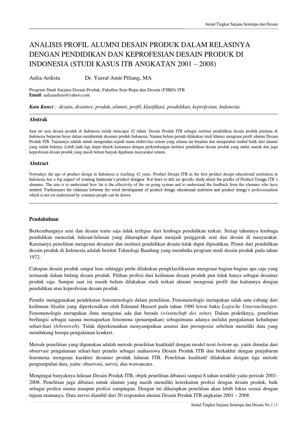 Analisis Profil Alumni Desain Produk Dalam Relasinya Dengan