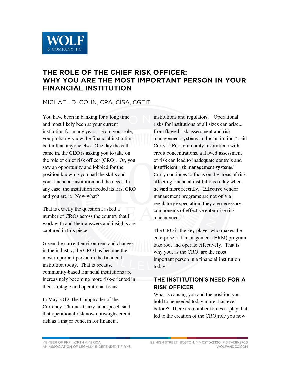 The Role Of Chief Risk Officer Why You Are Most Important Basic Controls A Cro Person In Your Financial By Wolfpac Integrated Management Issuu