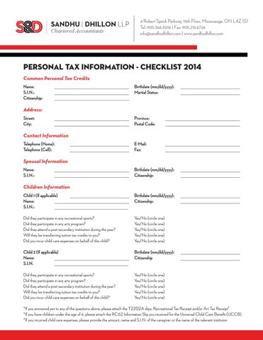 T1 Tax Checklist by S&D LLP - issuu