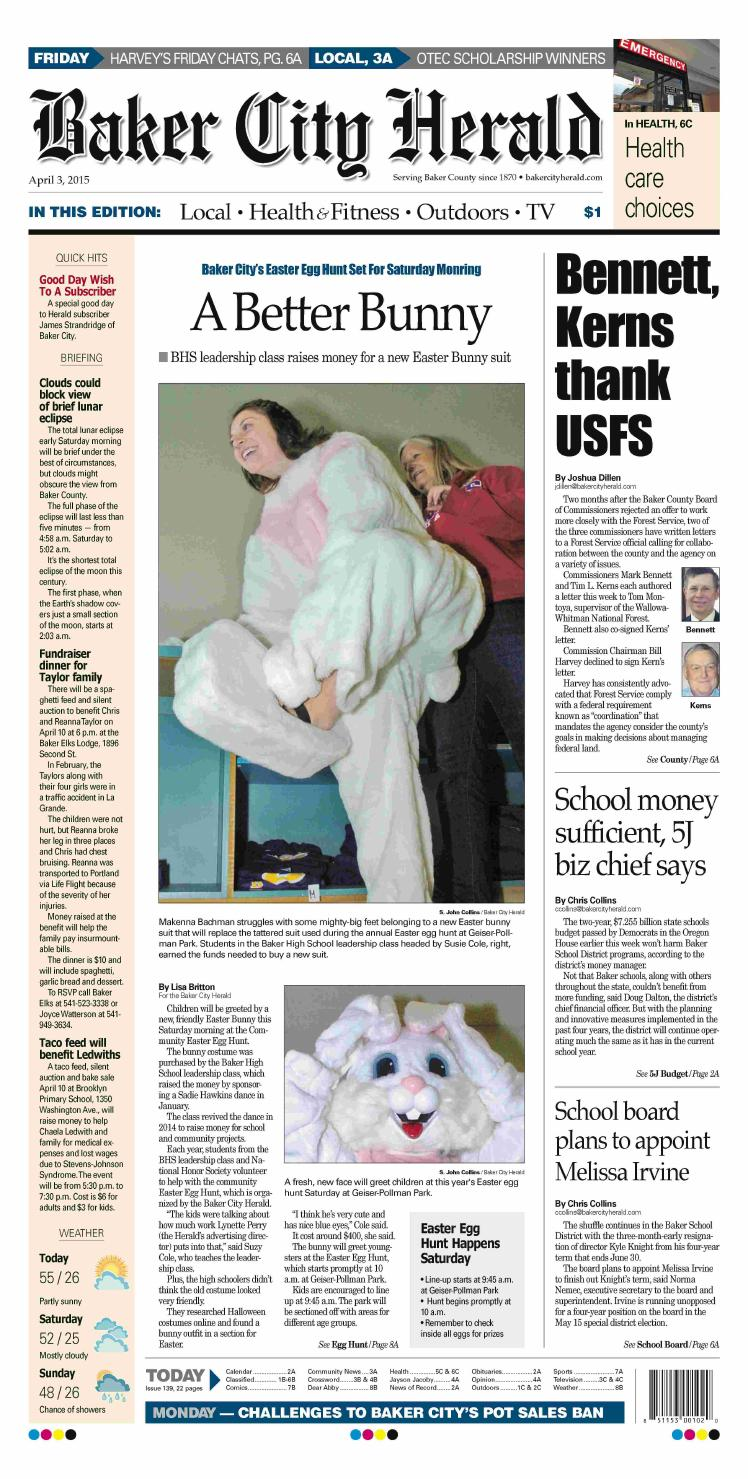 Baker City Herald 04 03 15 By Northeast Oregon News Issuu Redstone Circuits Hg Download Piston Armory Clock Elevator