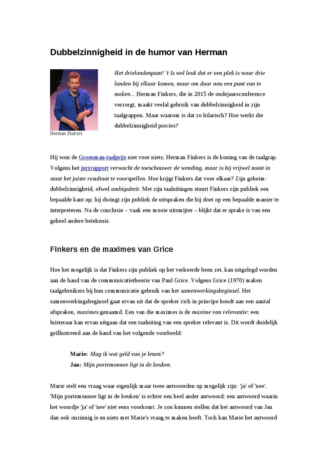 Dubbelzinnigheid In De Humor Van Herman By Mathilde Van De