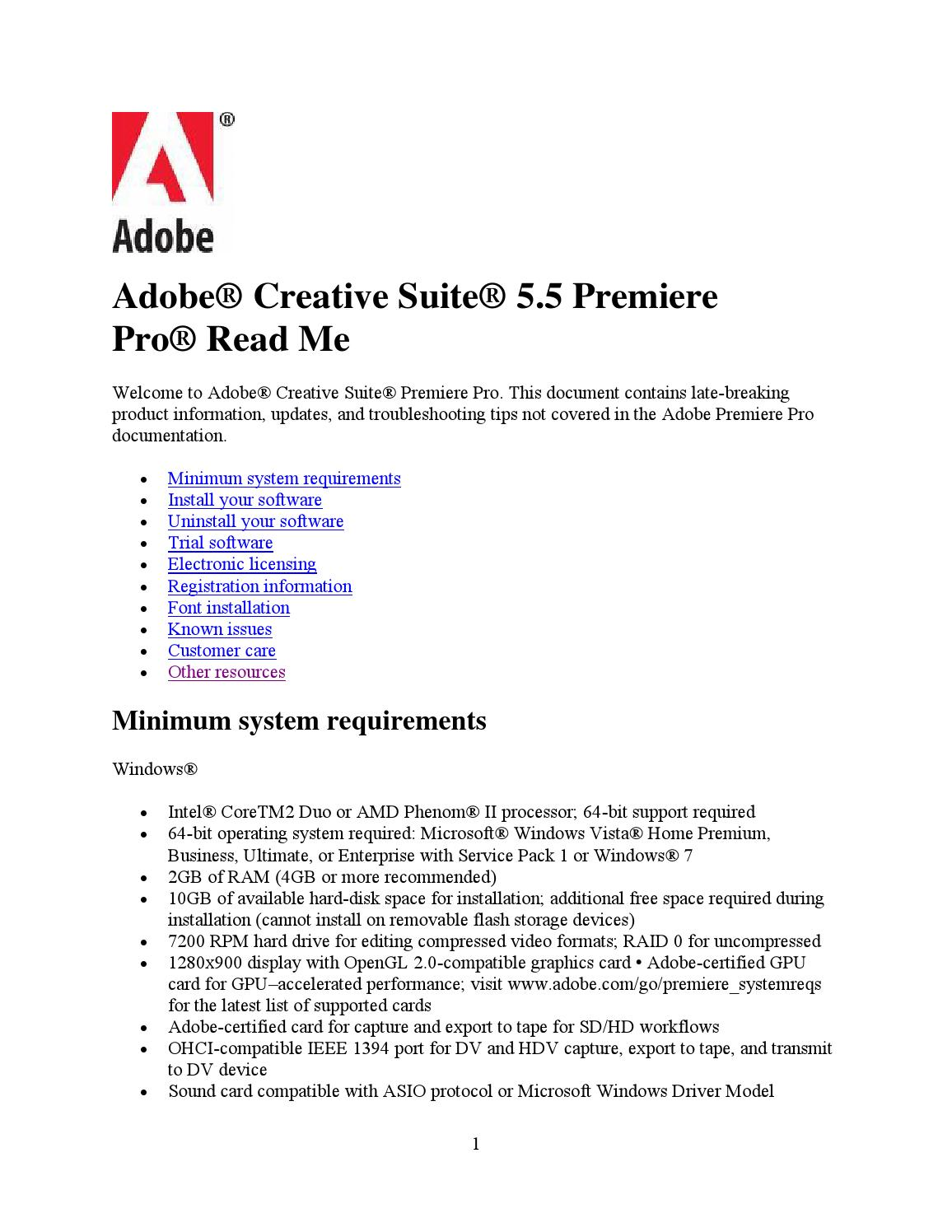 Adobe Premiere Pro Cs5 5 Read Me By Prabhakar Issuu