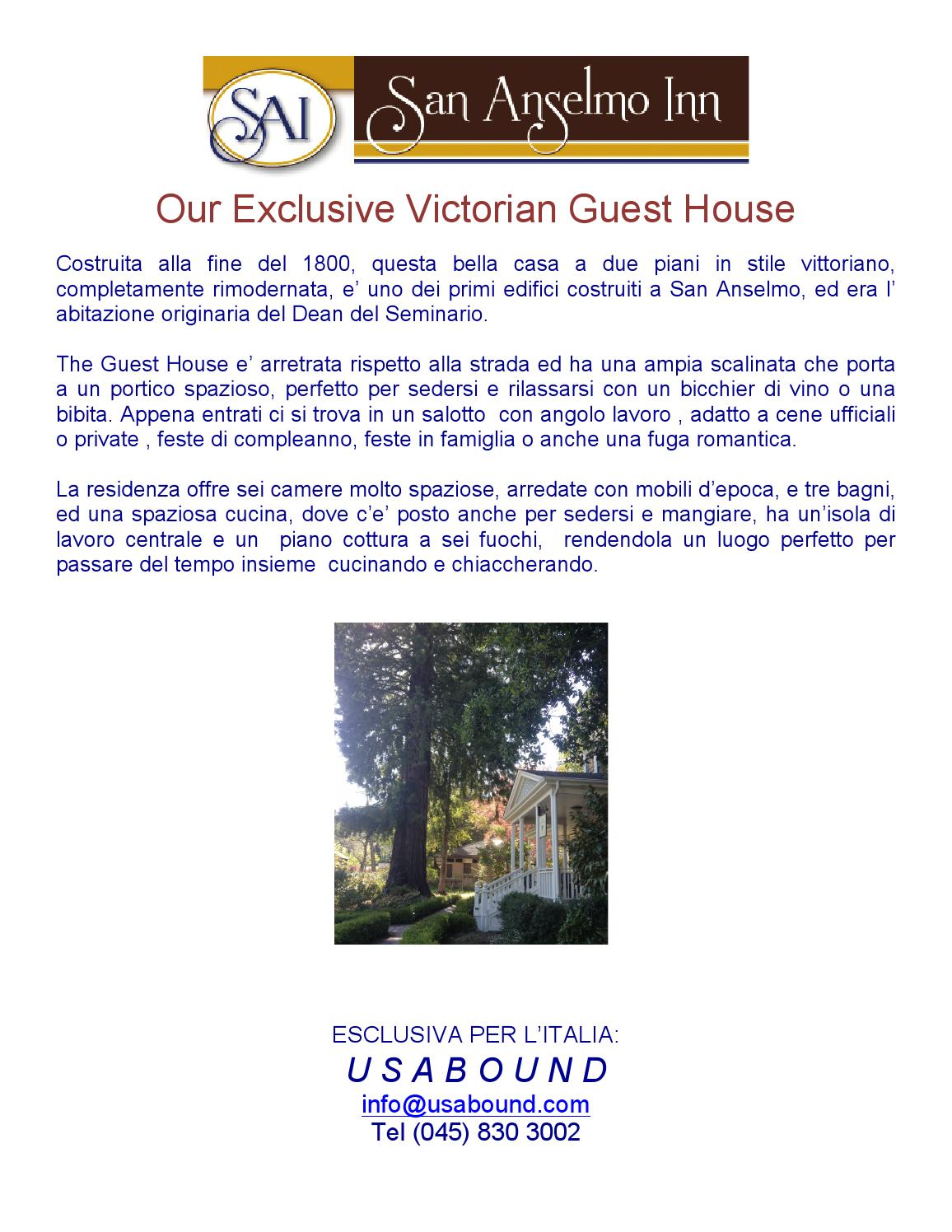 San anselmo guesthouse by usabound issuu for Piani di casa con guest house annessa