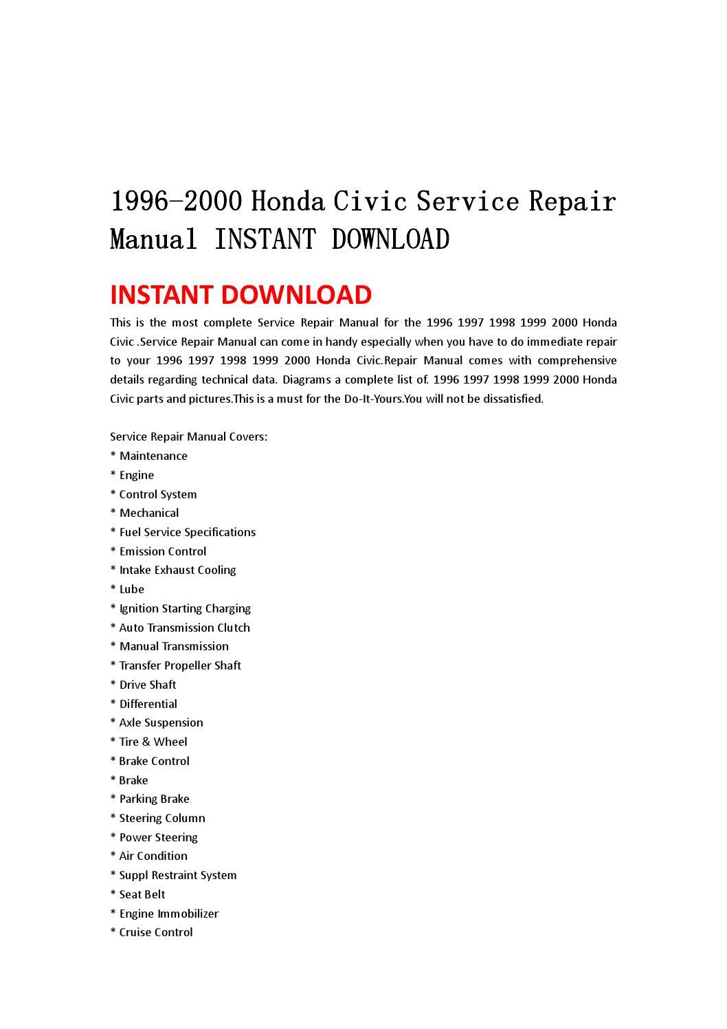 1996 2000 Honda Civic Service Repair Manual Instant