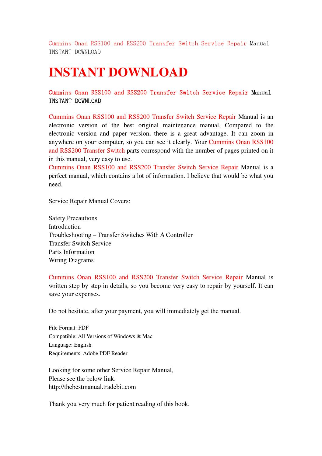 Cummins onan rss100 and rss200 transfer switch service repair manual  instant download by jfhsefjn - issuu