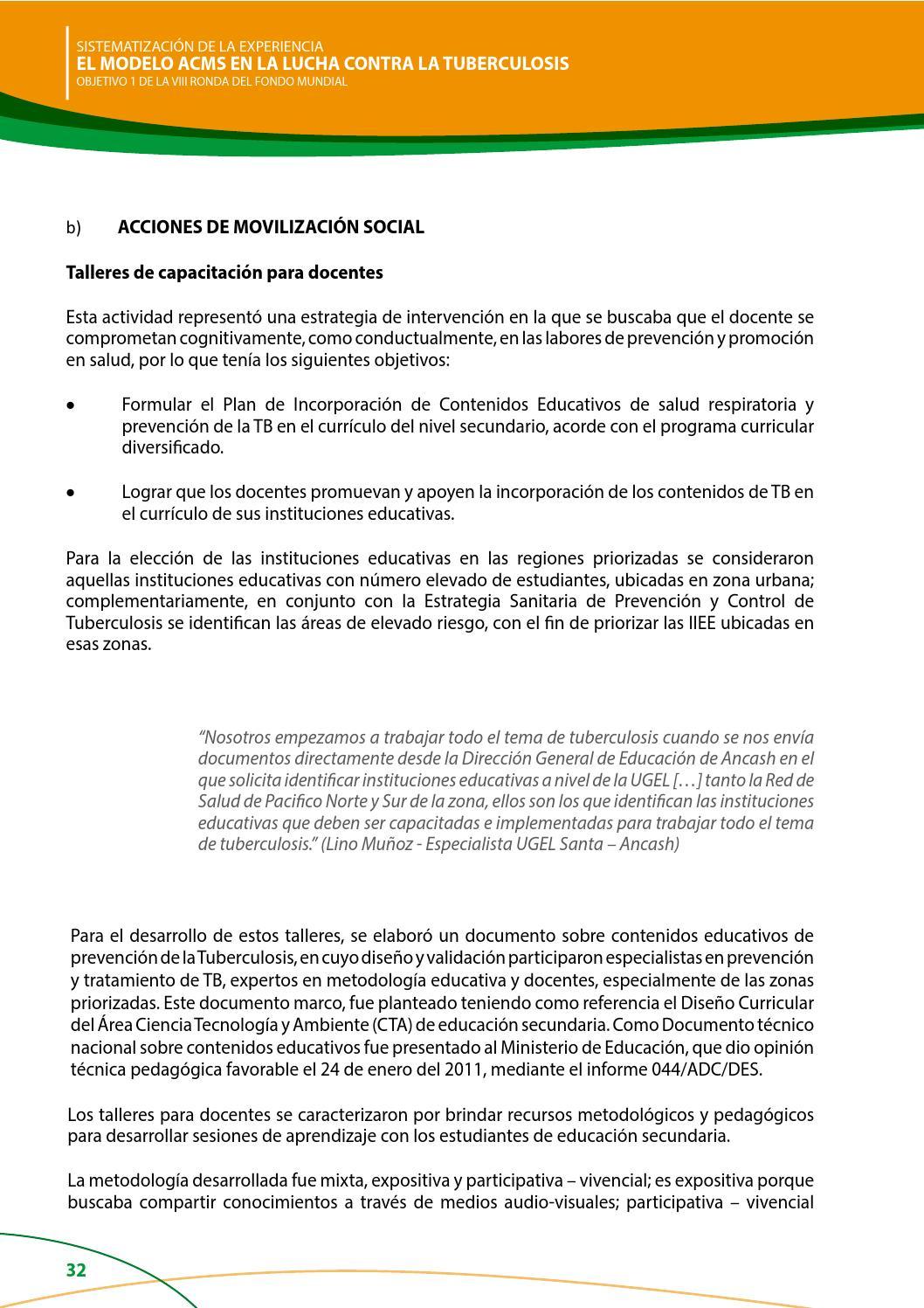 Sistematizacion de la experiencia EL MODELO ACMS EN LA LUCHA CONTRA ...