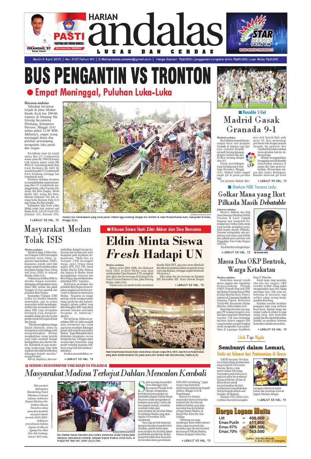 Epaper Andalas Edisi Senin 6 April 2015 By Media Issuu Fcenter Lemari Pakaian Wd Hk 1802 Sh Jawa Tengah