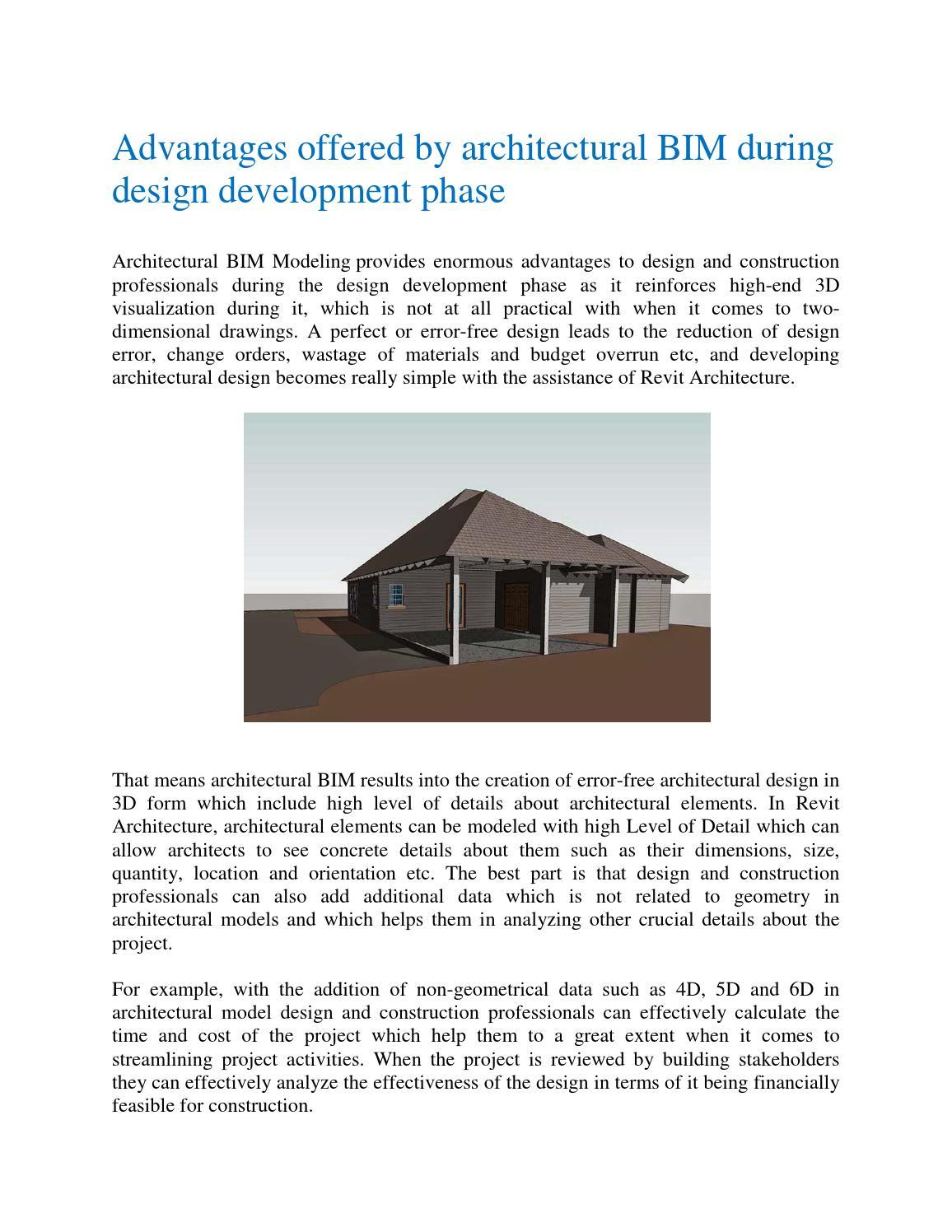 Advantages offered by architectural BIM during design development
