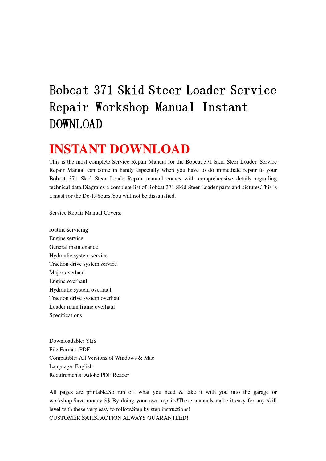 Bobcat 371 Skid Steer Loader Service Repair Workshop