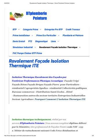 Ravalement Facade Isolation Thermique Devis Plomberie Peinture Isolation By Btp Plomberie Peinture Issuu